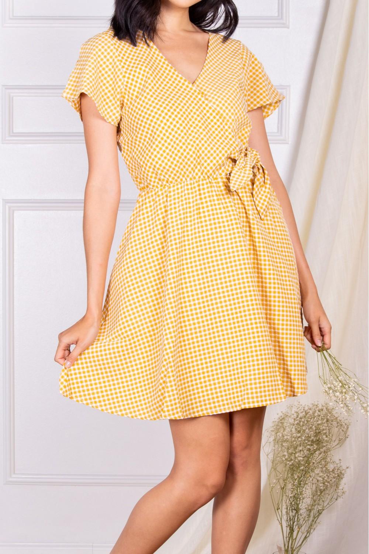 PD30077<br/>Gingham Print Dress