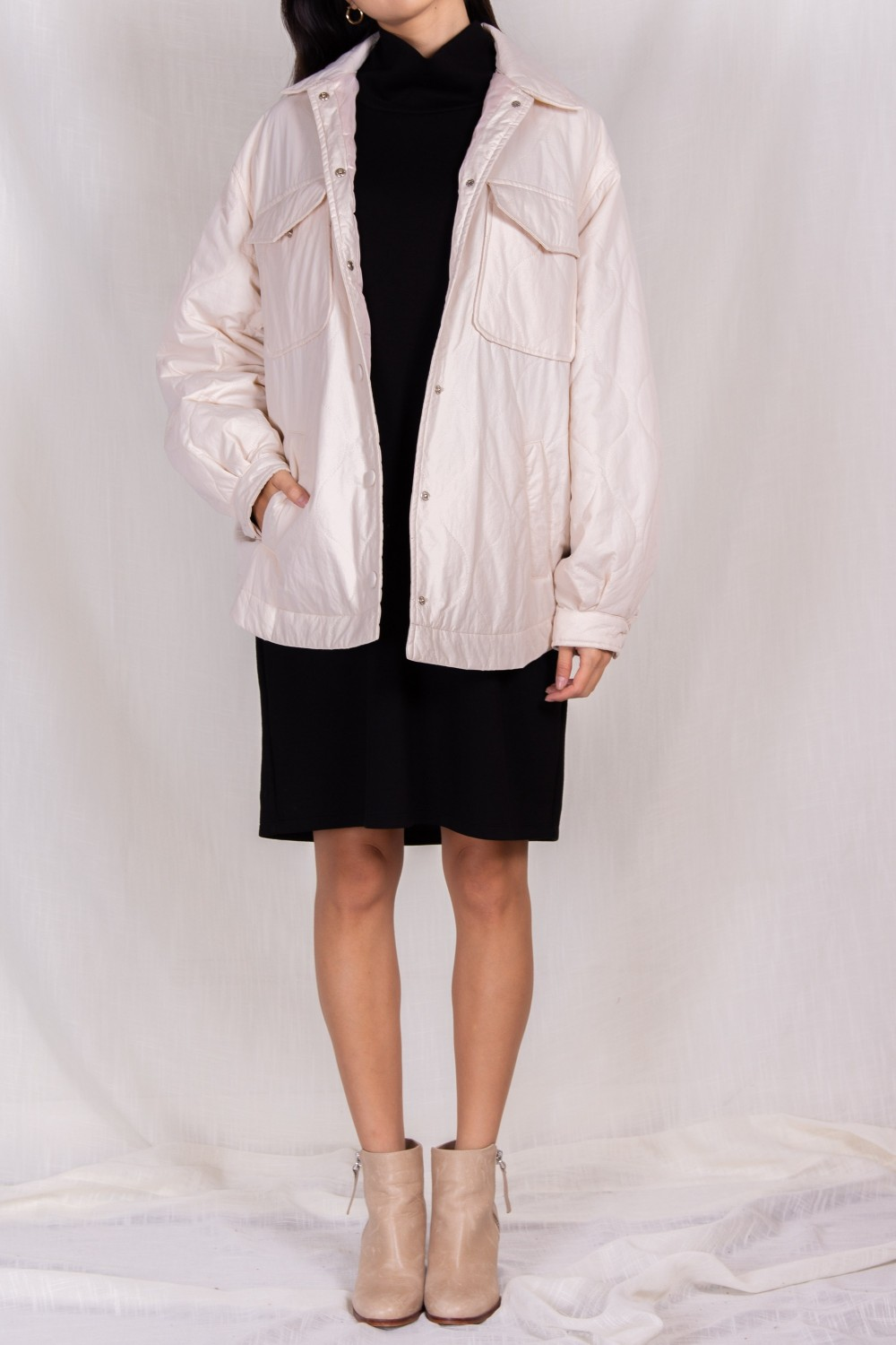 PJ70221<br/>Quilted Oversized Jacket