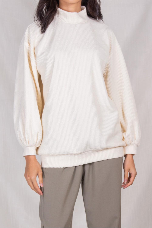 PT10452<br/>Textured Mock Neck Sweater Top